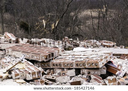 Remains of a house destroyed by a tornado four months earlier in Washington, Illinois, USA - stock photo