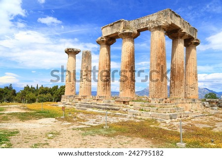 Remains of a large temple dedicated to Apollo, Corinth, Greece - stock photo