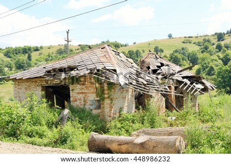 Remains of abandoned houses