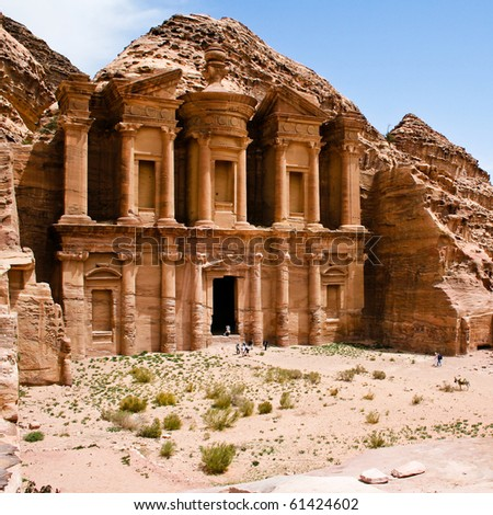remains of an ancient temple in Petra, Jordan - stock photo