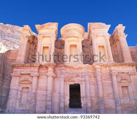 remains of an ancient temple in Petra, Jordan