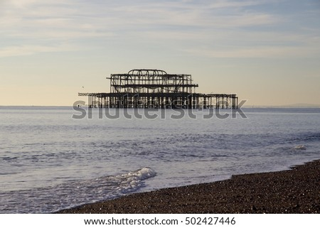 Remains of Brighton Pier left standing in sea, Brighton West Pier, England, UK
