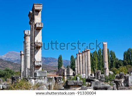 Remains of Famous Temple of Aphrodite in Aphrodisias (Turkey) built during Hellenic time. In Roman time it was a small city in Caria.