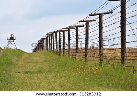 Remains of iron curtain near border of Czech republic and Austria. Cizov, Czech republic, Europe