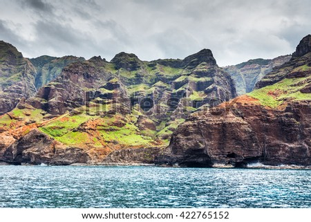Remains of taro growing terraces along the Na Pali coast, Kauai, Hawaii - stock photo