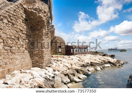 Remains of the ancient fortress walls in Akko, Israel - stock photo