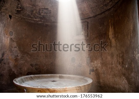 Remains of the public baths in Pompeii, Italy - stock photo