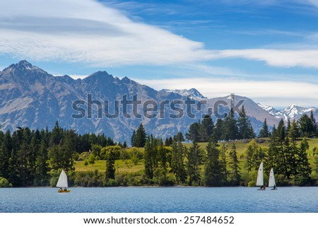 Remarkable of Lake Wakatipu at Frankton Arm, Queenstown, NEW ZEALAND - stock photo