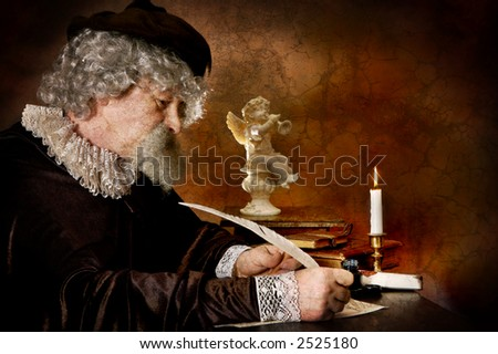 Rembrand style photo of a historical figure writing with a goose feather
