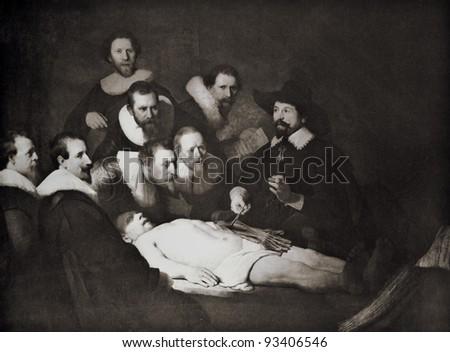 "Rembrandt Harmenszoon van Rijn ""Anatomy lecture"". Reproduction from illustrated Encyclopedia ""Treasures of art"", Partnership «Prosvesheniye», St. Petersburg , Russia , 1906 - stock photo"
