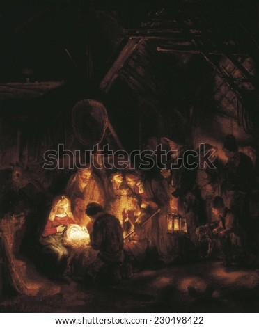 REMBRANDT, Harmenszoon van Rijn, (1606-1669), The Adoration of the Shepherds, 1646, Rembrandt painted a series of scenes from life of Christ for Prince Frederik Hendrik of Orange (1587-1647)