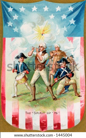 Remembering the ''Spirit of 1776'' -  a circa 1914 vintage illustration of colonial soldiers fighting for independence. - stock photo
