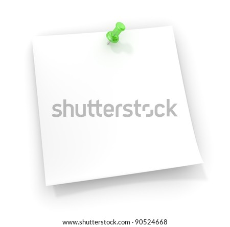 Reminder Note. Note paper with a green semi transparent plastic Pushpin. Copy space. - stock photo