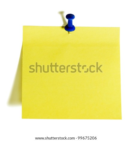 reminder note with pin isolated on white background - stock photo
