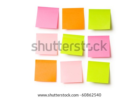 Reminder notes isolated on the white background - stock photo