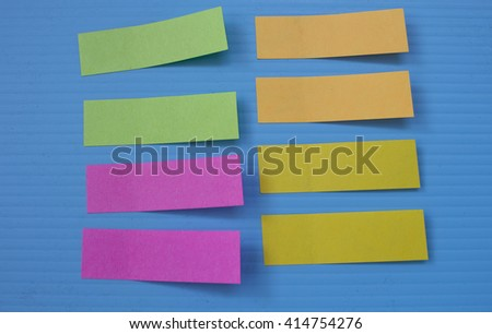 Reminder notes on the bright blue corrugated plastic.