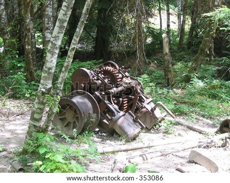 Remnants from a mining operation deep in the Willamette National Forest. - stock photo