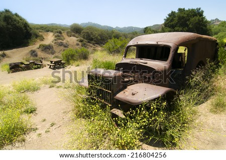 Remnants of the MASH television show site along Crags Rd. in Malibu Creek State park, CA. - stock photo