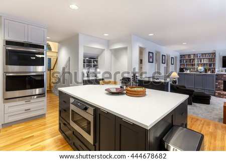 Remodeling of open kitchen and family room complete - stock photo