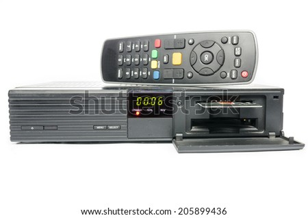 remote and receiver for satellite TV - stock photo
