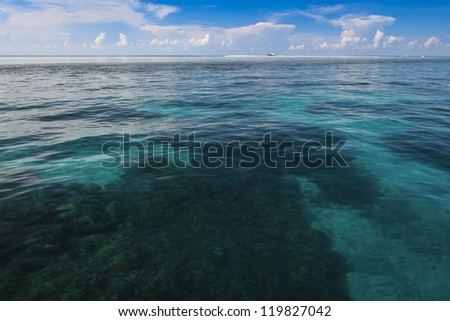remote coast guard ranger station on tubbataha reef marine park in open ocean of sulu sea off palawan island in the philippines