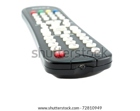 Remote console for TV over white. Shallow DOF. - stock photo