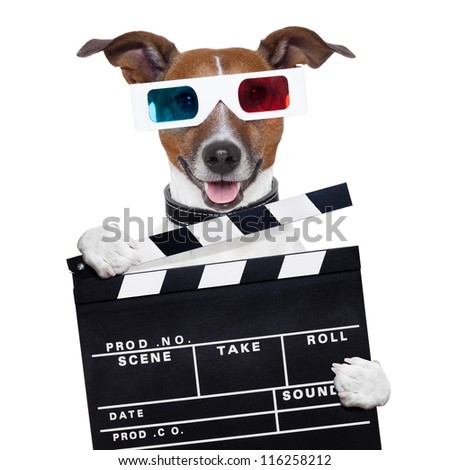 remote control 3d glasses tv movie dog - stock photo