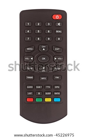 Remote control for digital interactive TV isolated on white background - stock photo