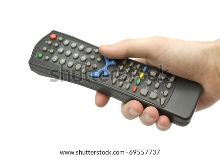 remote control in hand isolated on white background - stock photo