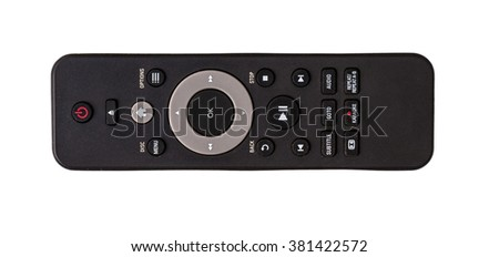 Remote control isolated on white background photo top view, flat lie - stock photo