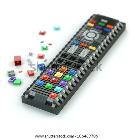 remote control of Lego bricks isolated on white background (first version) - stock photo