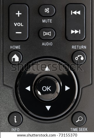 Remote control playback keypad with white symbols - stock photo