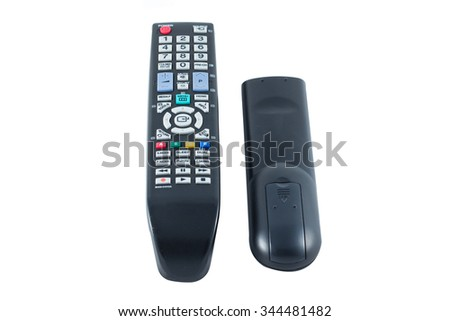 Remote control TV on select focus - stock photo