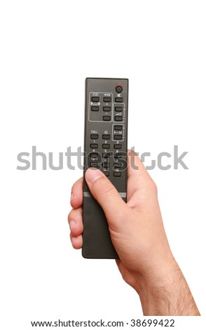 remote control with hand - stock photo