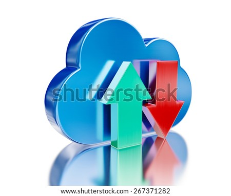 Remote database cloud computing technology storage upload download concept - metal glossy cloud icon and download and upload arrows with reflection on white - stock photo