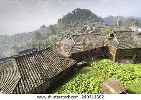 Remote Mountain Village - World Heritage site - stock photo