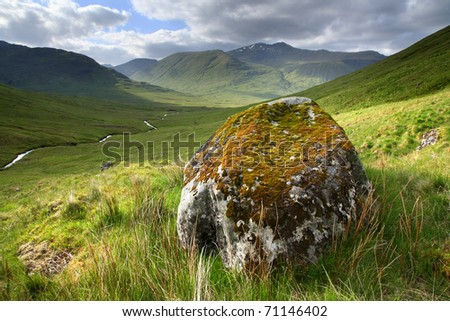 Remote view in the Scottish highlands, near Glen Affric. - stock photo