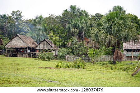Remote village in the Peruvian Amazon with thatched huts and Mauritia palms - stock photo