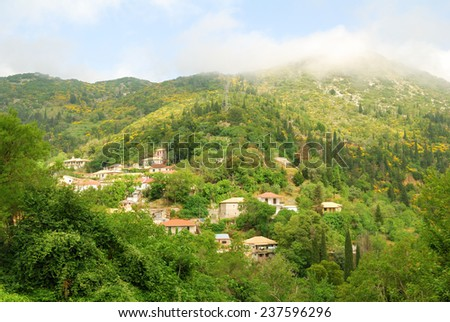 Remote village of Eglouvi high in the mountains of greek island of Lefkada - stock photo