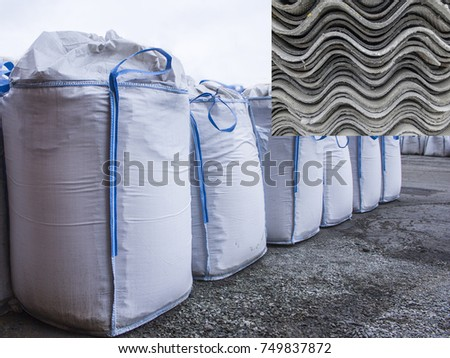Bags with asbestos. Warehouse big bags. & Removal Asbestos Bags Asbestos Warehouse Big Stock Photo (Royalty ...