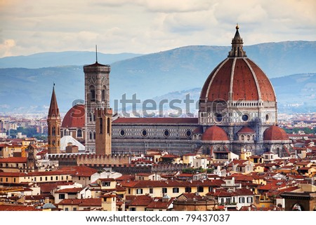 Renaissance cathedral Santa Maria del Fiore in Florence, Italy - stock photo