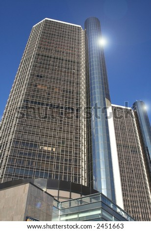 Renaissance centre - one of the modern architecture's in Detroit - stock photo