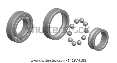 Render: ball bearing and exploded view - stock photo