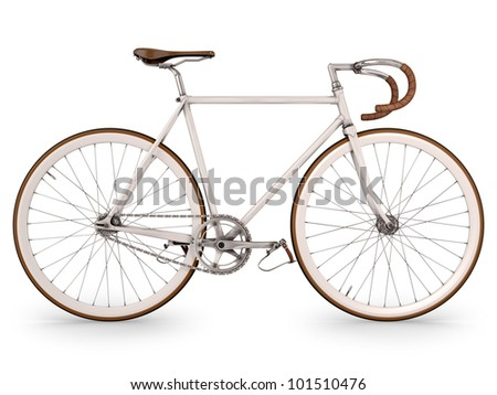 Render bicycle on white, fixed gear. - stock photo