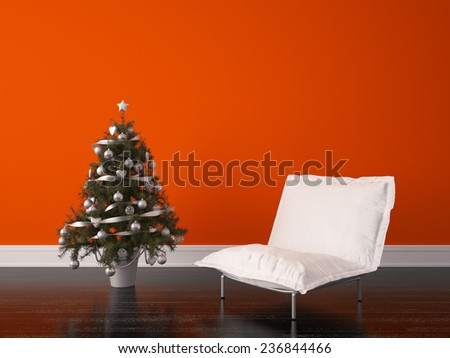 Render Christmas Room Interior Design - stock photo