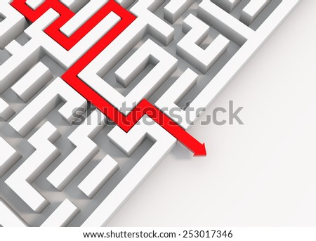 render 3D illustration of a red arrow leading through a maze - stock photo