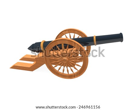 Render 3d models retro black gun and wooden wheels - stock photo