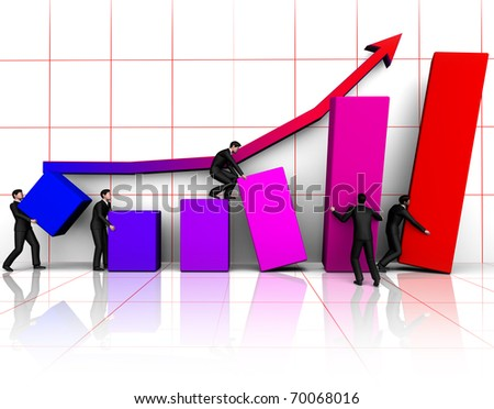 Render group of businessmans building graph - stock photo