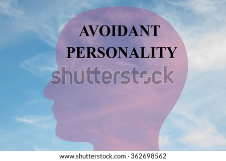 Render illustration of Avoidant Personality title on head silhouette, with cloudy sky as a background. - stock photo