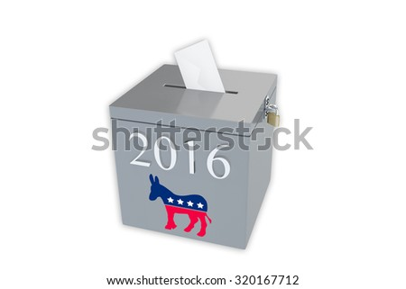 Render illustration of ballot box with the print 2016 and the Democratic donkey image, isolated on white. - stock photo